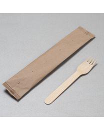 Ξύλινο πιρούνι 16 cm συσκευασμένο σε χάρτινο σακουλάκι