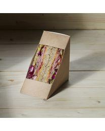 Χάρτινη τριγωνική θήκη για sandwich με παράθυρο