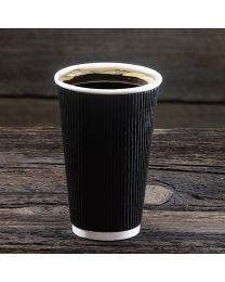 Χάρτινο μαύρο γκοφρέ ποτήρι 16oz
